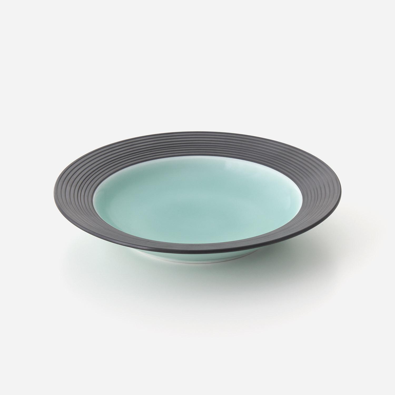 青磁黒彩 リム皿