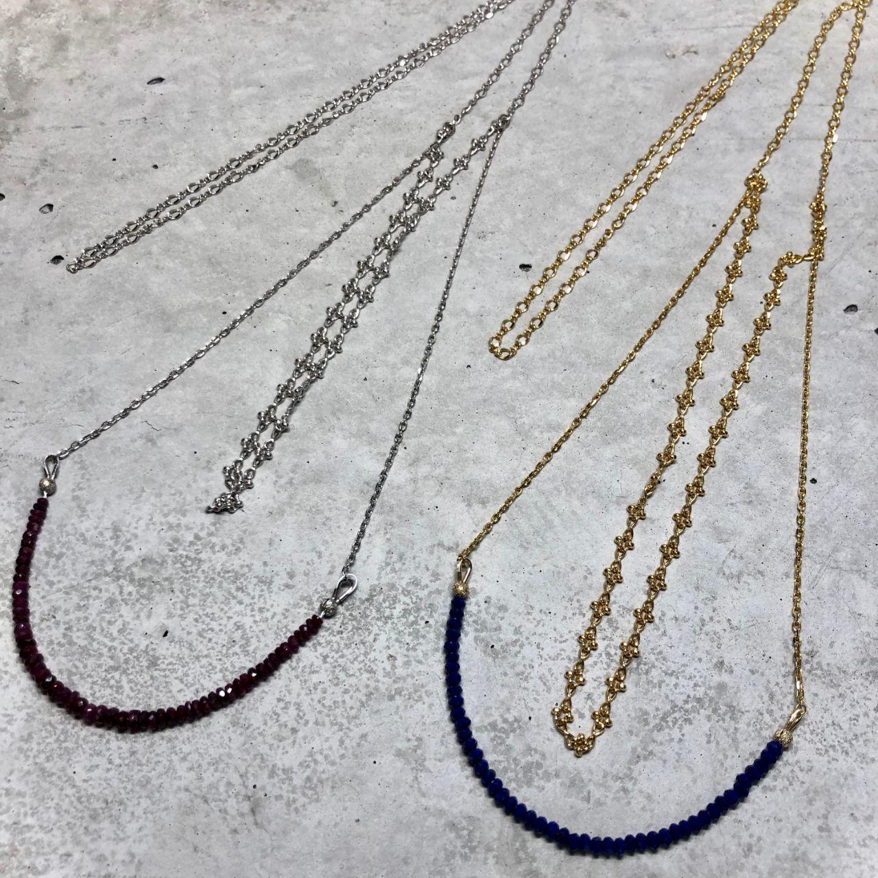 【LN-5BR】Ruby necklace【LN-6BR】Lapislazuli necklace