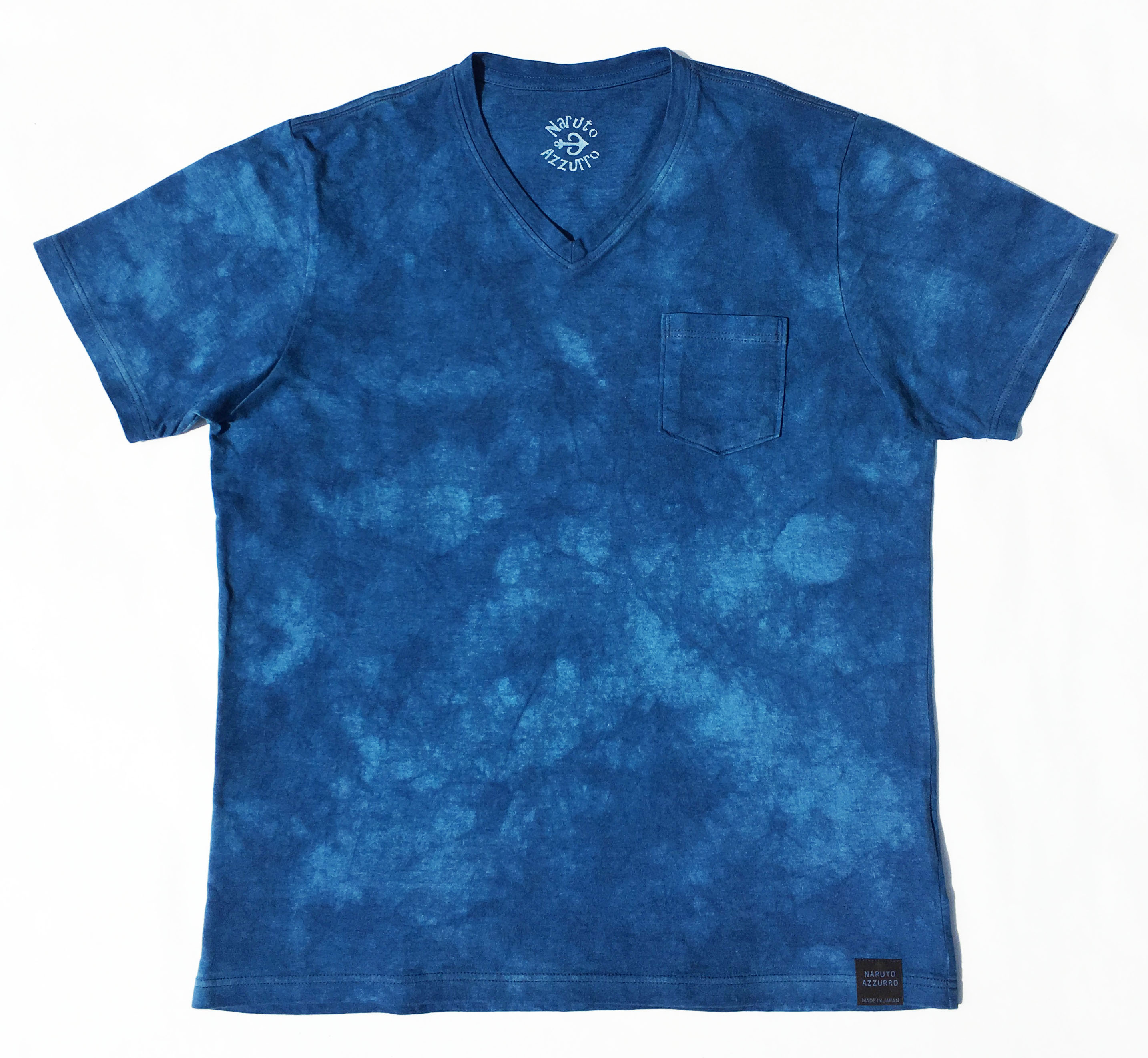 Men's murakumo V-collar cotton slab T-shirt