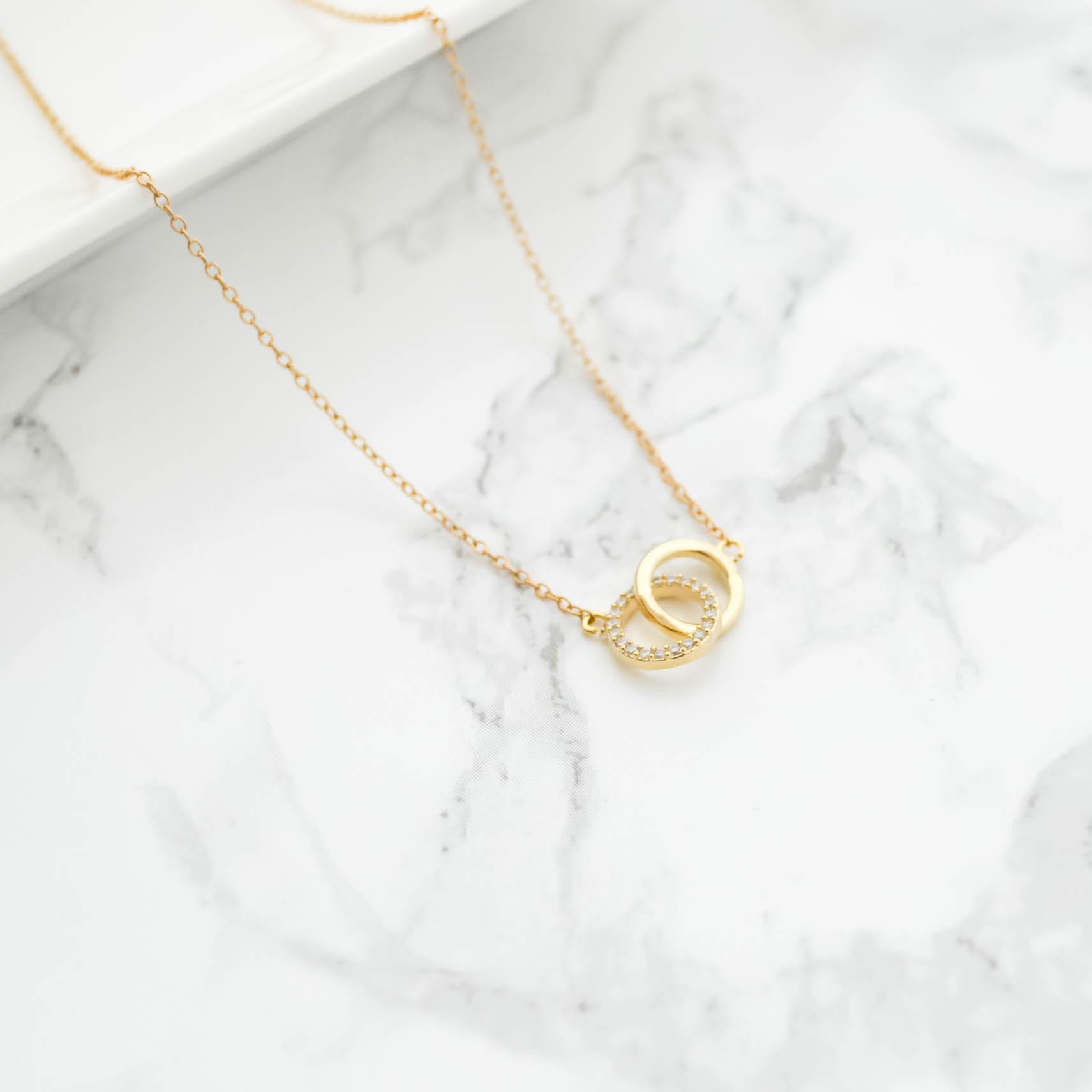 14kgf Double Circle Zirconia Necklace