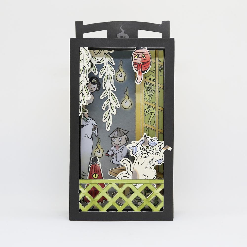 猫立体カード(おばけ光る音付き)