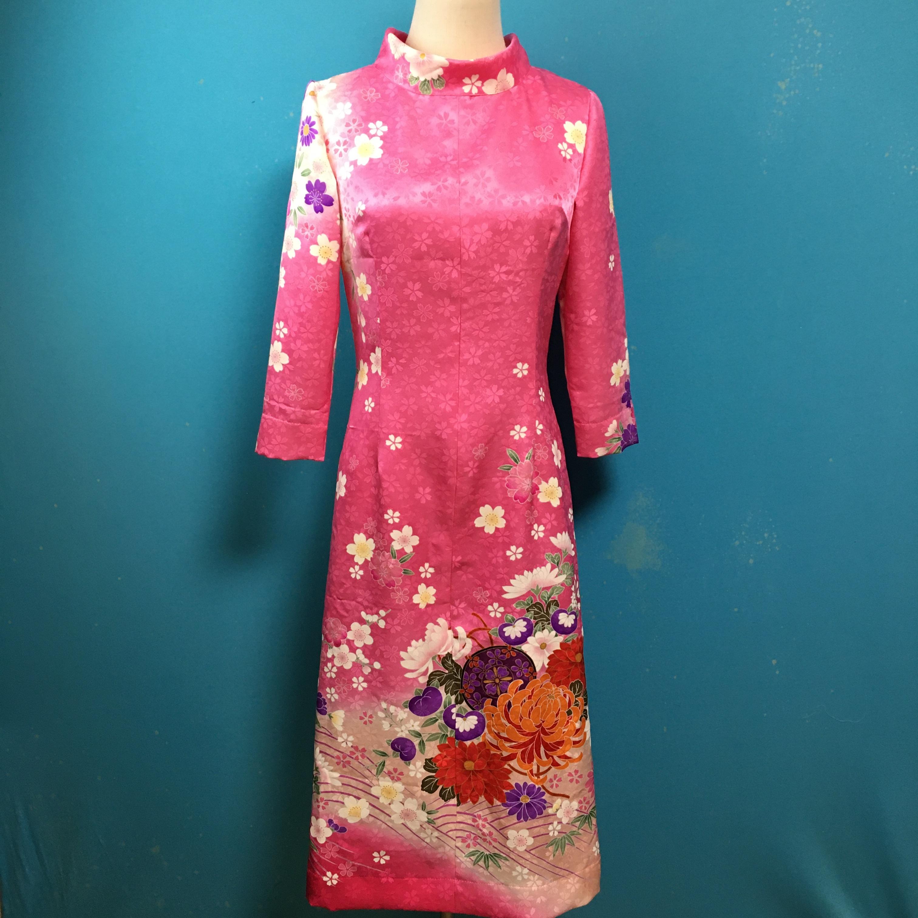 Vintage stock kimono dress/ US 6, furisode