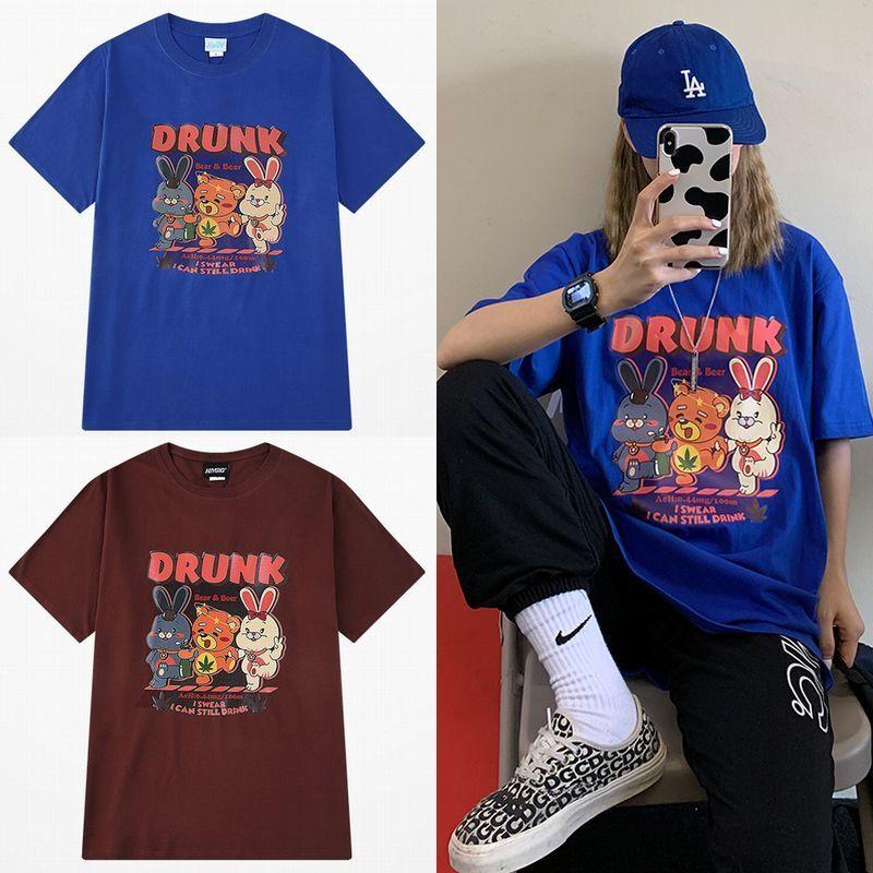 ユニセックス Tシャツ 半袖 メンズ レディース 酔っぱらいアニマル プリント オーバーサイズ 大きいサイズ ルーズ ストリート