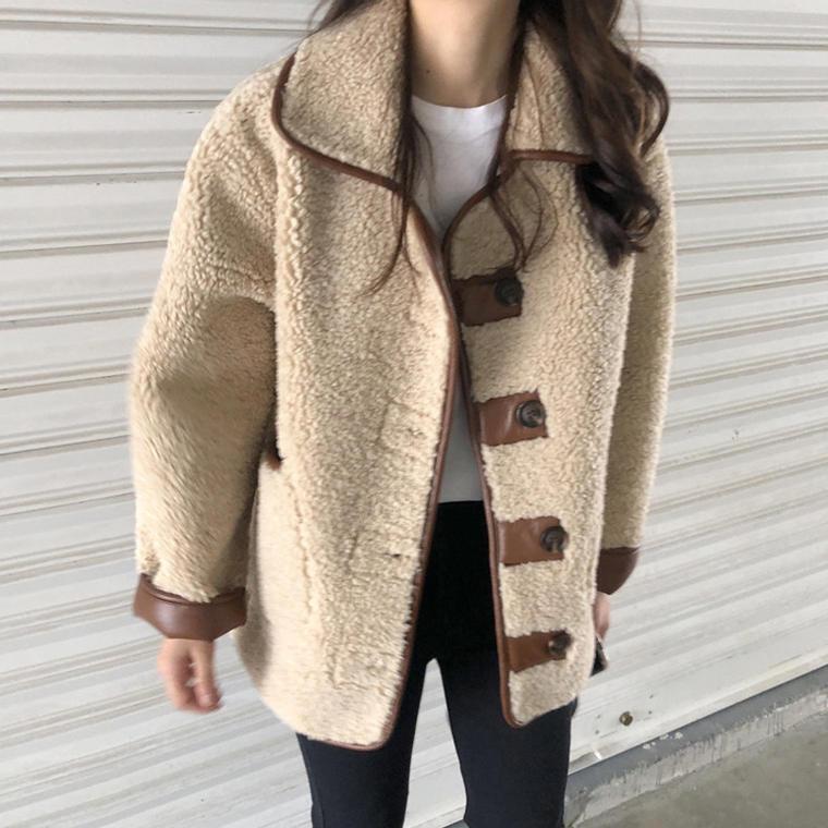 【送料無料】レザーがポイント ♡ 異素材 大人可愛い カジュアル 襟付き ボア ジャケット コート アウター