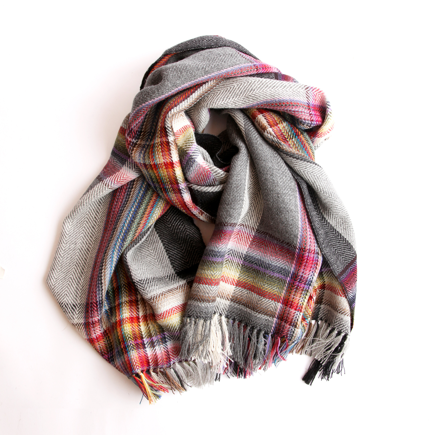 THE INOUE BROTHERS/Multi Coloured Scarf/Grey