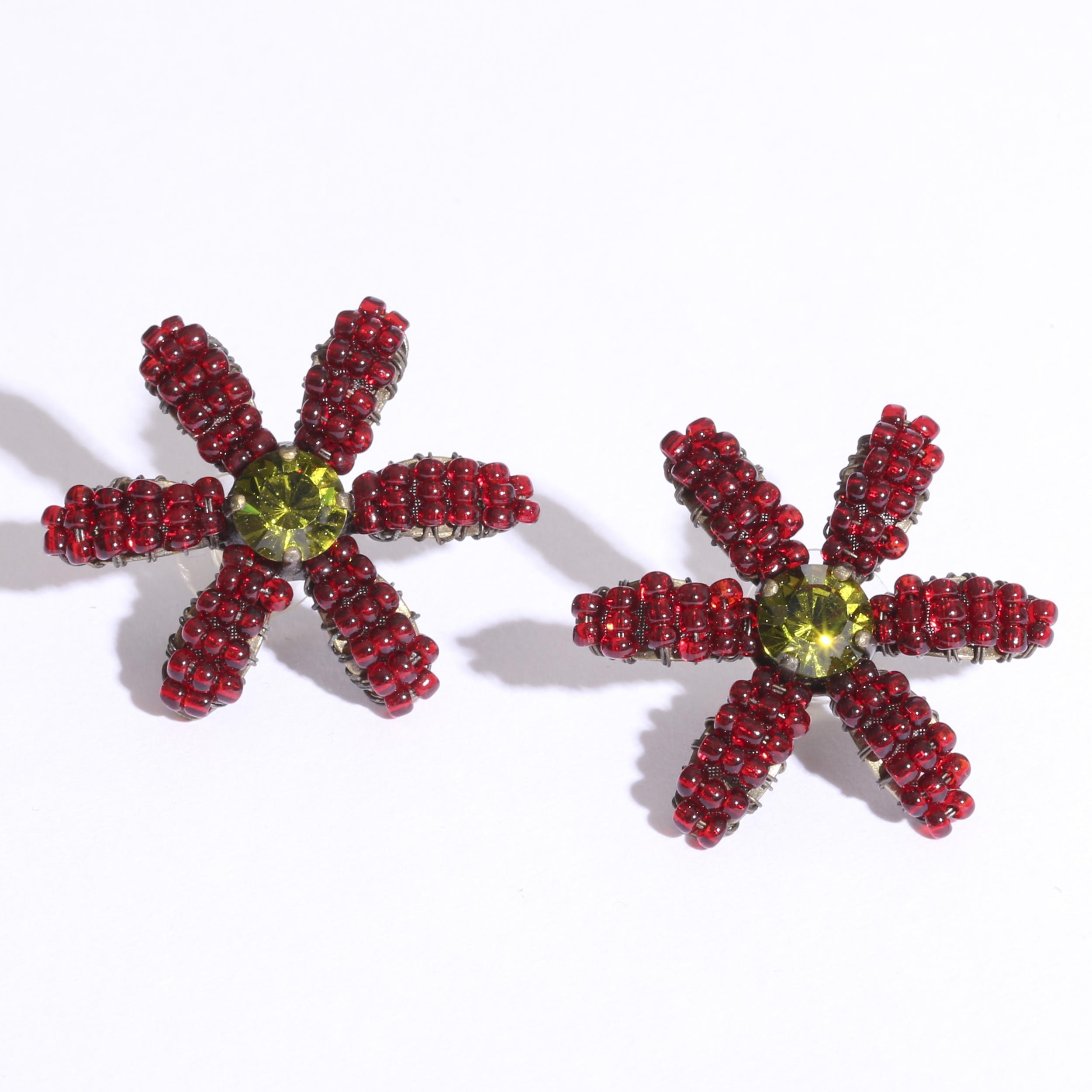 Flowerピアス レッドグリーン