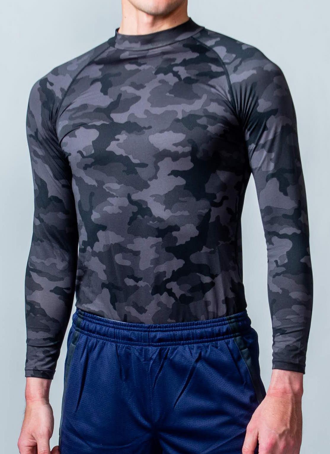 トレーニング時の動きをサポート「コンプレッションウェア(長袖)」 (ブラック迷彩)
