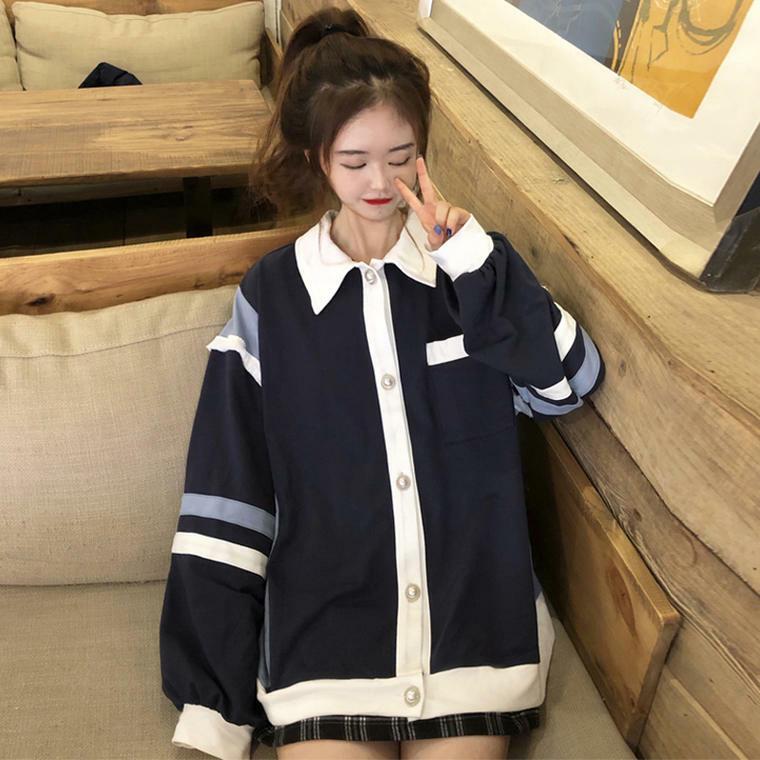 【送料無料】カレッジコーデに ♡ レトロ カジュアル オーバーサイズ 襟付き ポロシャツ トップス