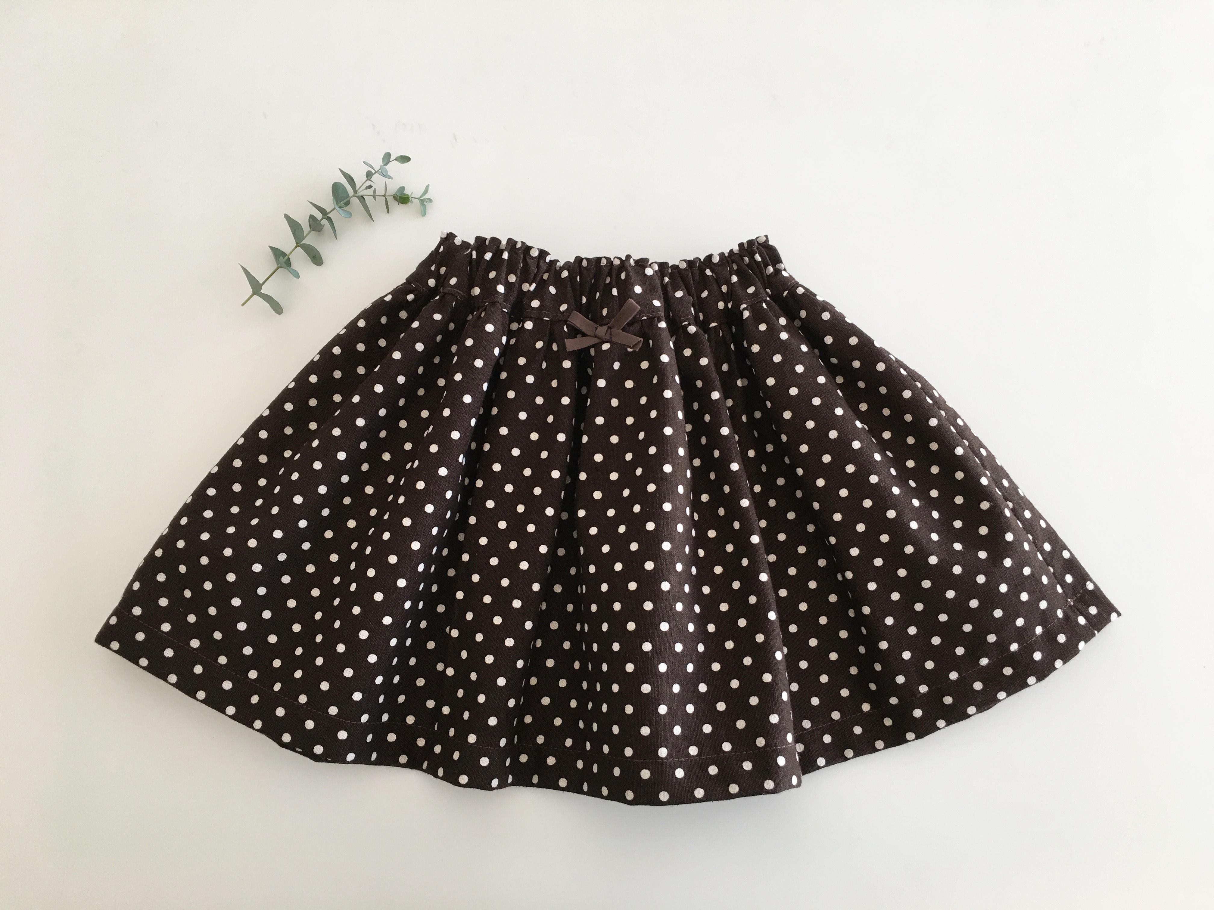 茶色ドット麻のスカート80cm
