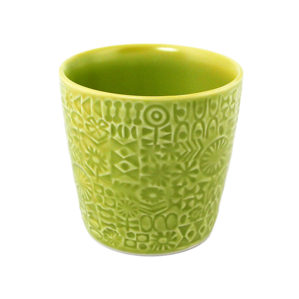 BIRDS' WORDS Patterned Cup citron green