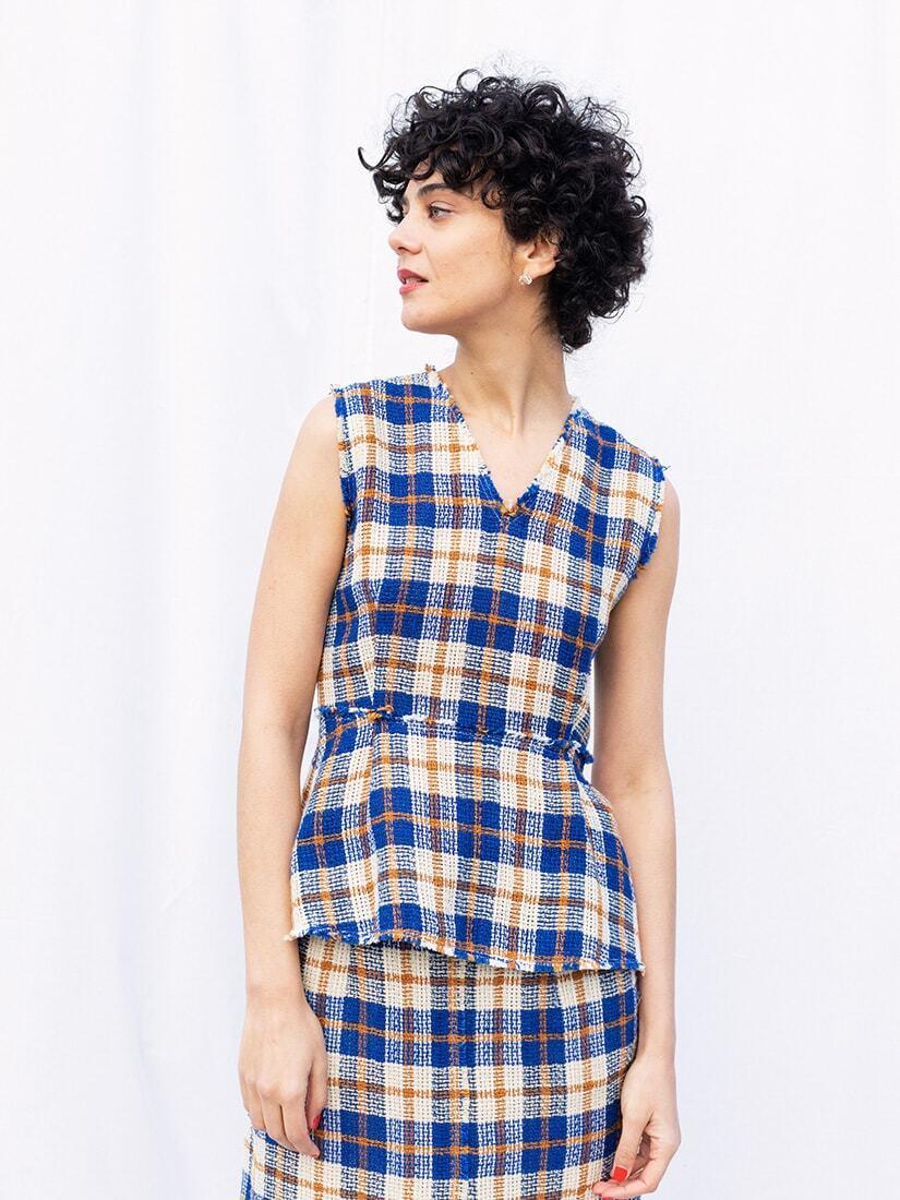 linen checked blouse