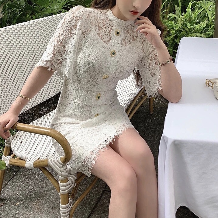 glitter button total lace dress