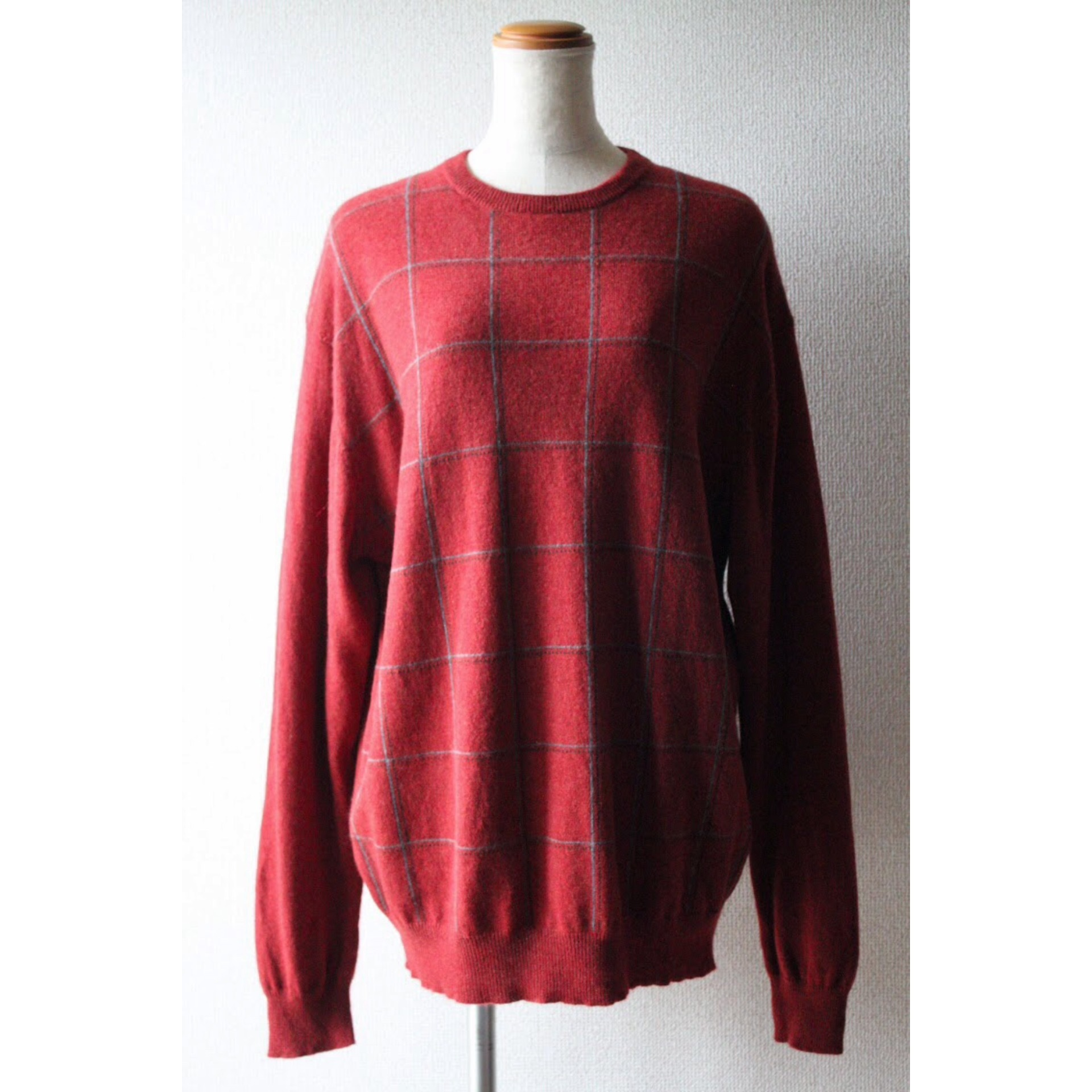 Vintage check cashmere sweater