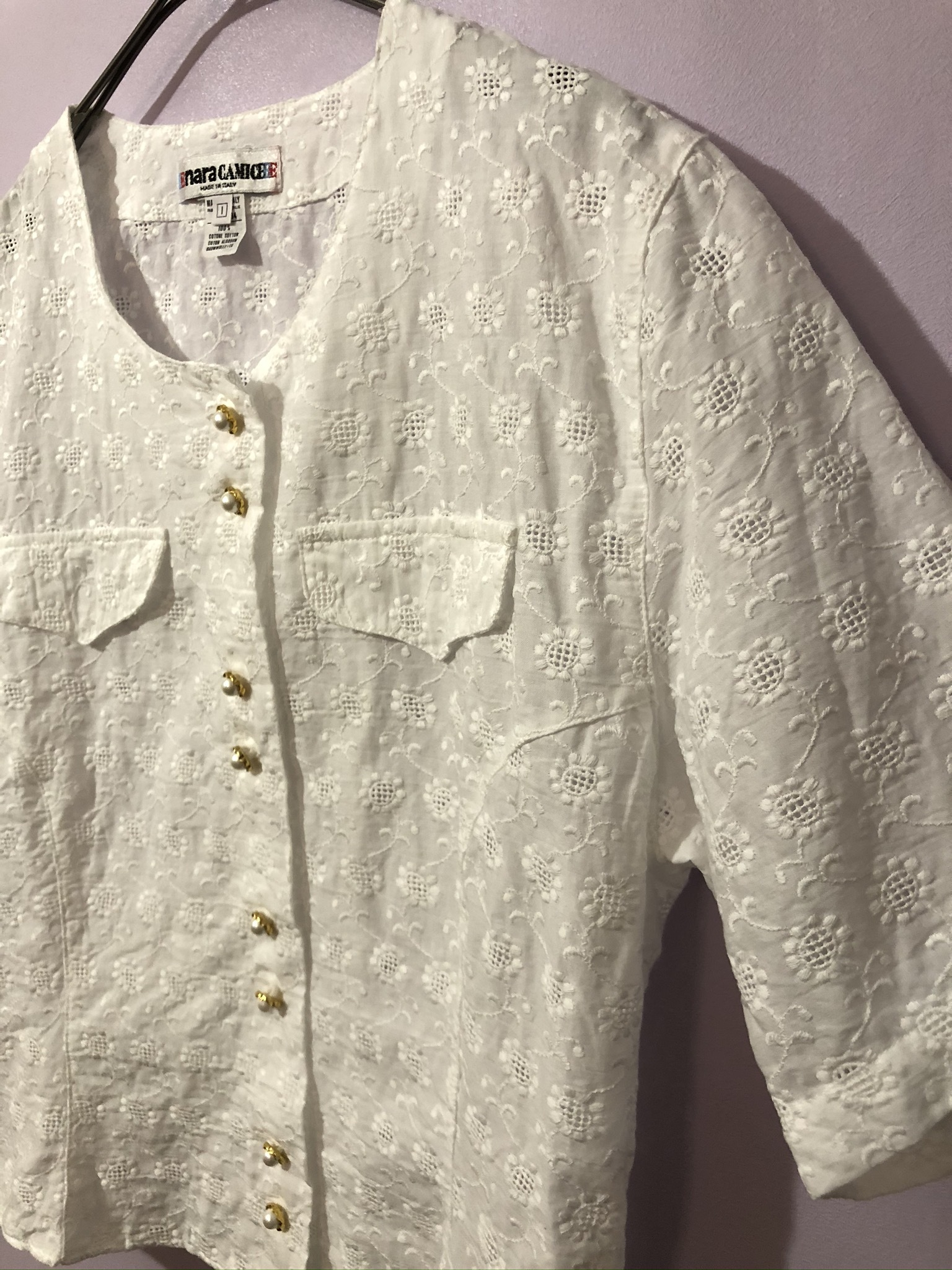 embloidery nocollar shirt