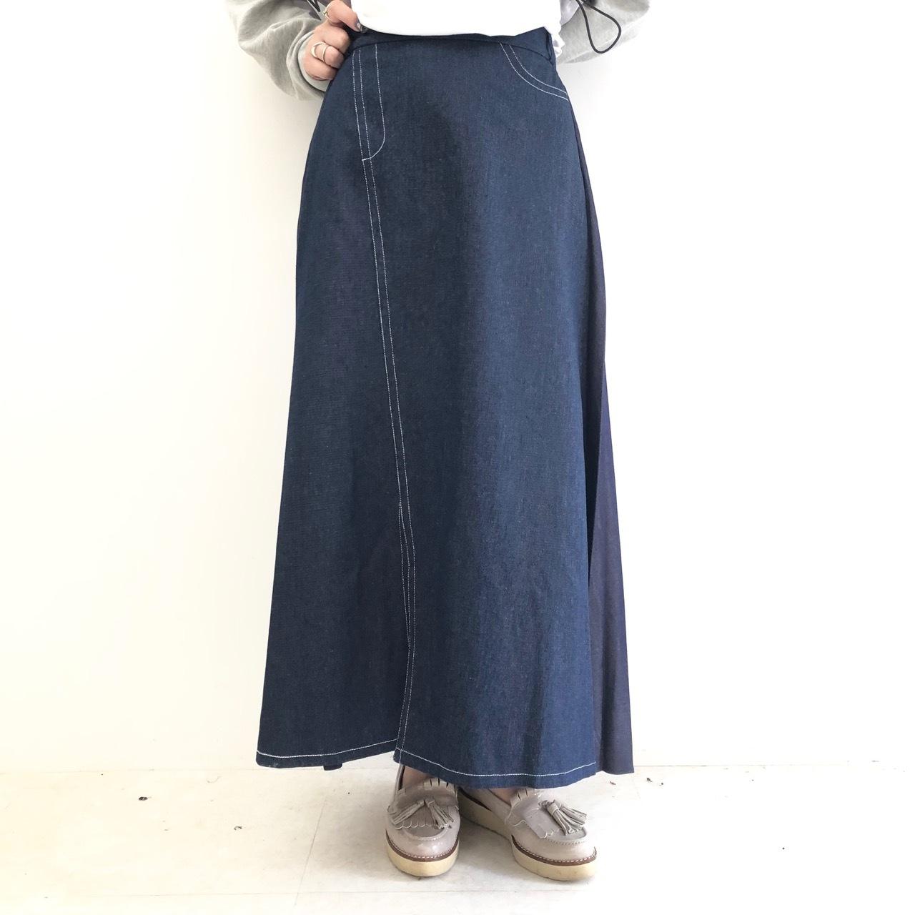 【 ROSIEE 】- 172703 - デニム切り替えプリーツスカート