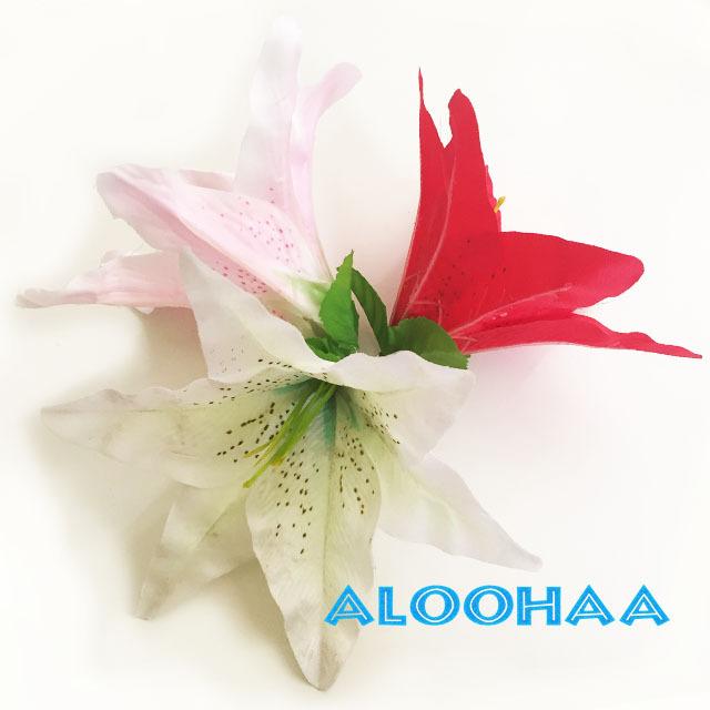 ユリ シングル【ホワイト】 ヘアクリップ付き ヘアアクセサリー フラダンス 衣装 髪飾り
