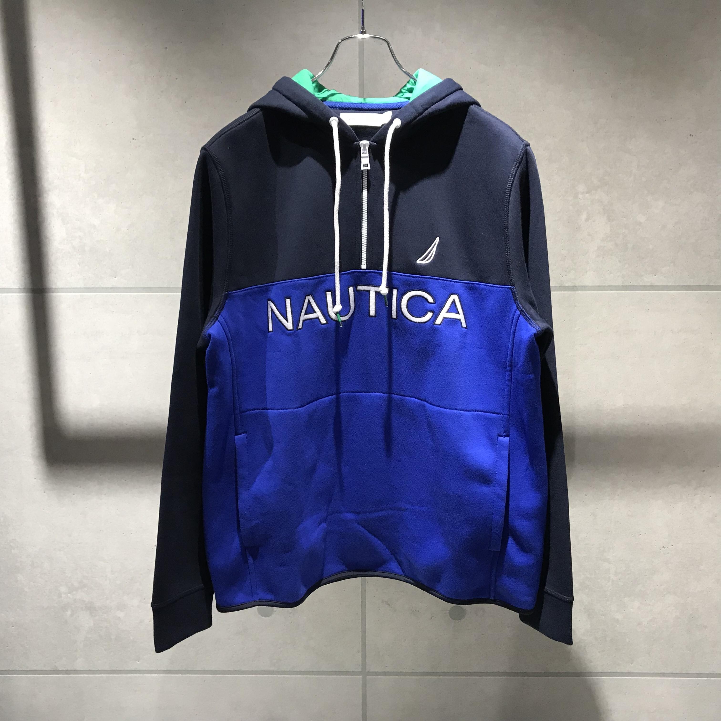 NAUTICA LOGO QUARTER-ZIP FLEECE HOODIE / BLUE