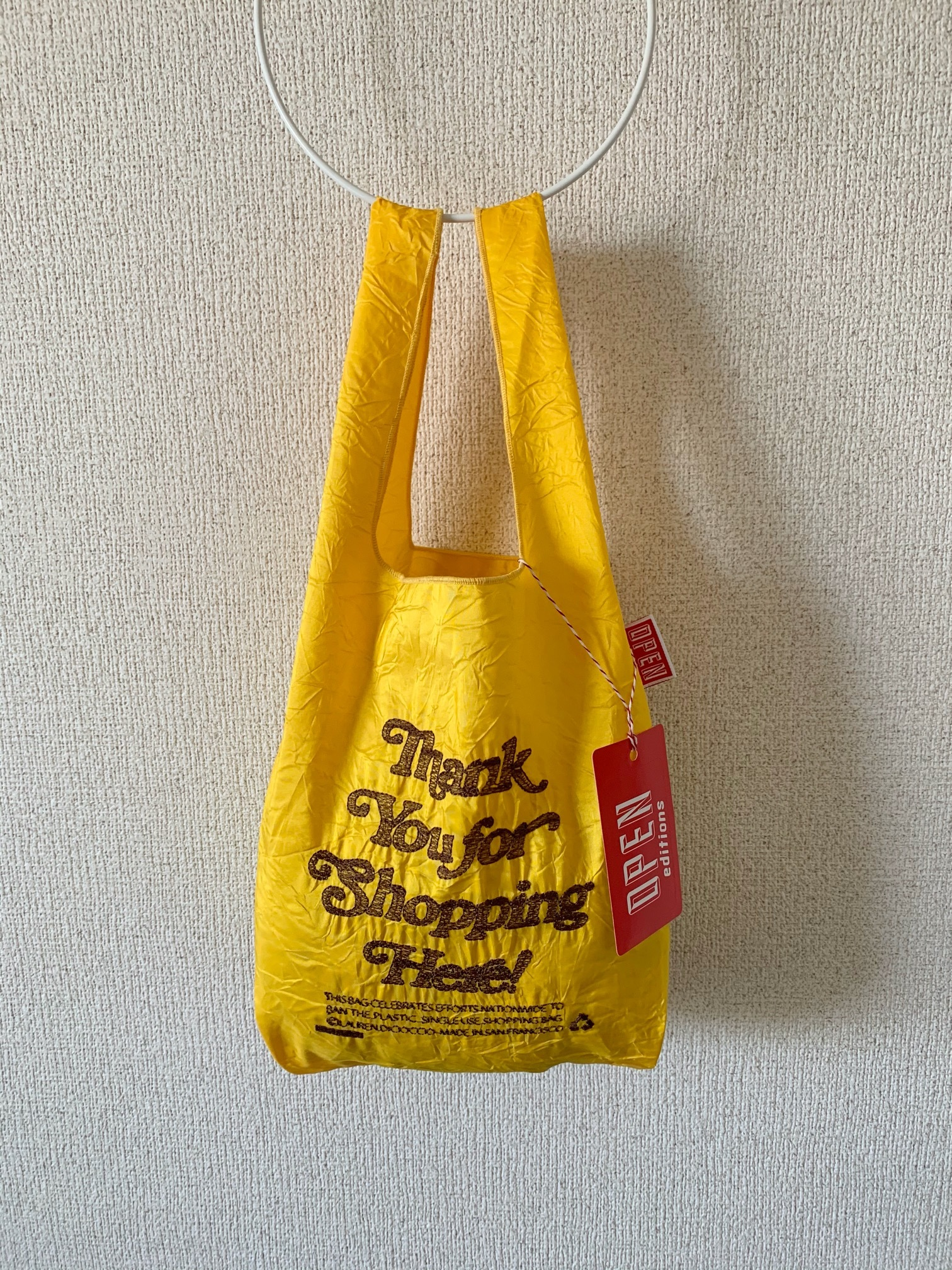 【OPEN EDITIONS】THANK YOU MINI エコバッグ/ THANK YOU FOR SHOPPING HERE Yellow