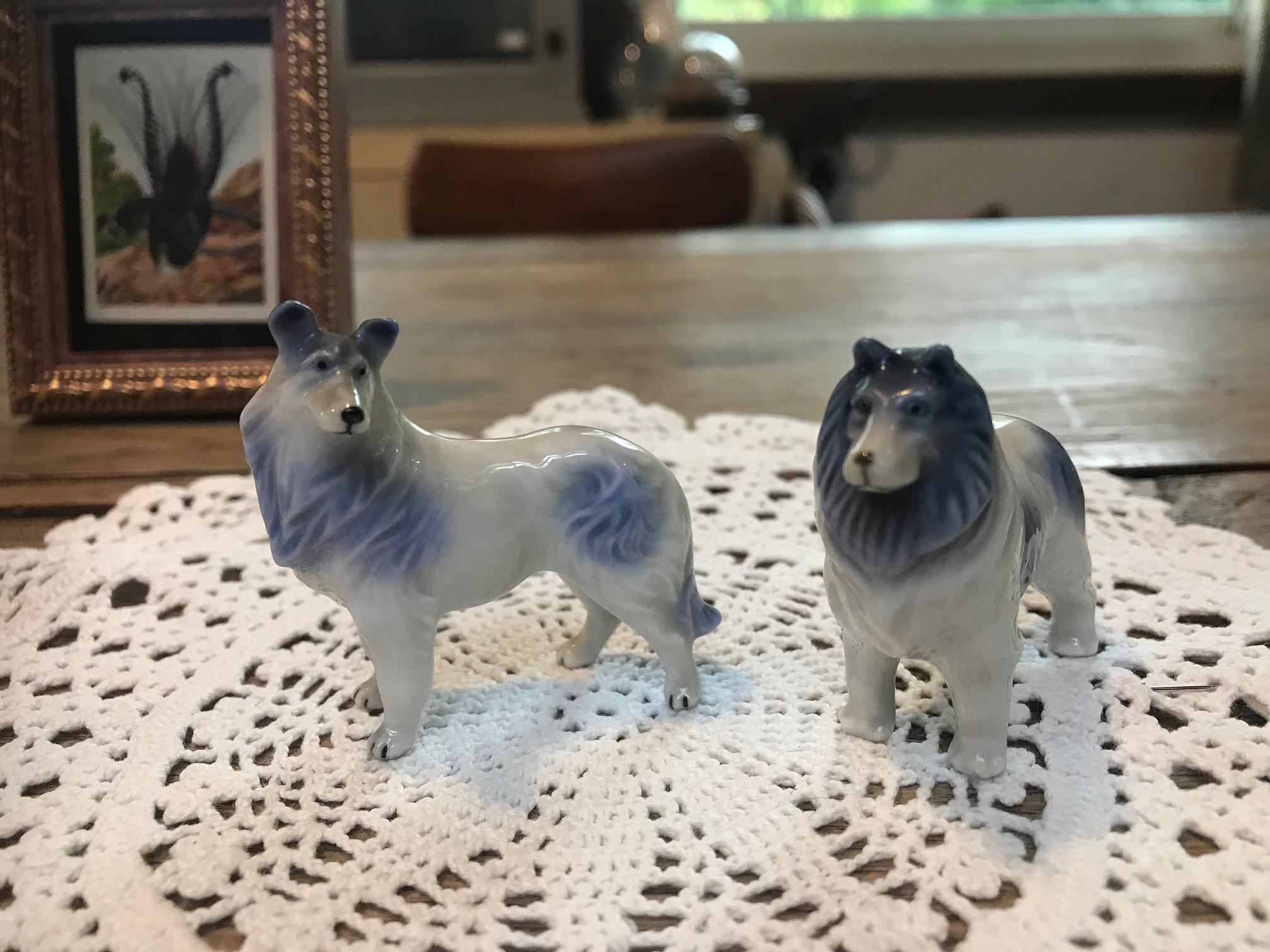 JAPAN 1960年代 陶器 人形 犬 コリーセット