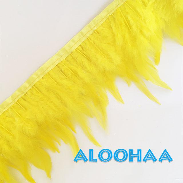 フェザーロール【イエロー】単色10-15cm丈 1m DIY 羽 衣装材料 タヒチアン