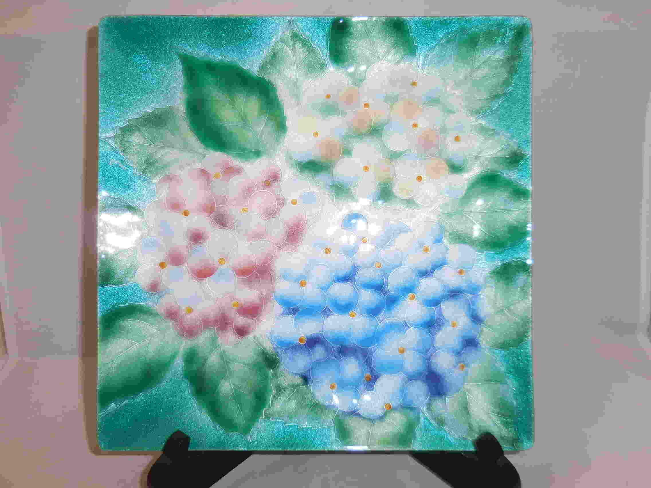 七宝紫陽花飾り皿 cloisonne enamel plate(hydrangea)