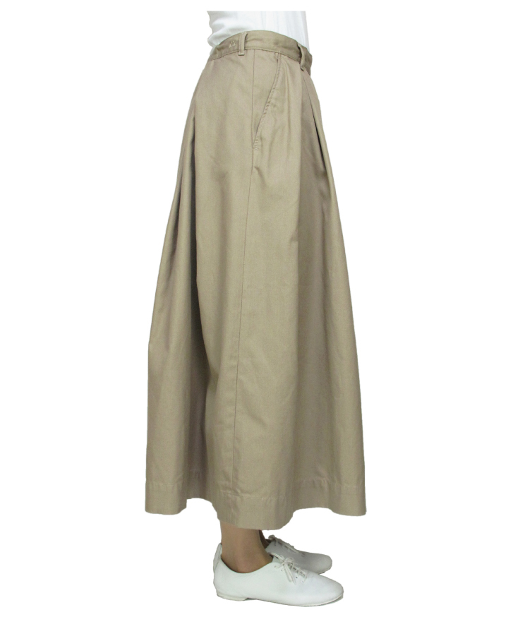 T/C chino long tuck-skirt Lot:35418 - 画像2