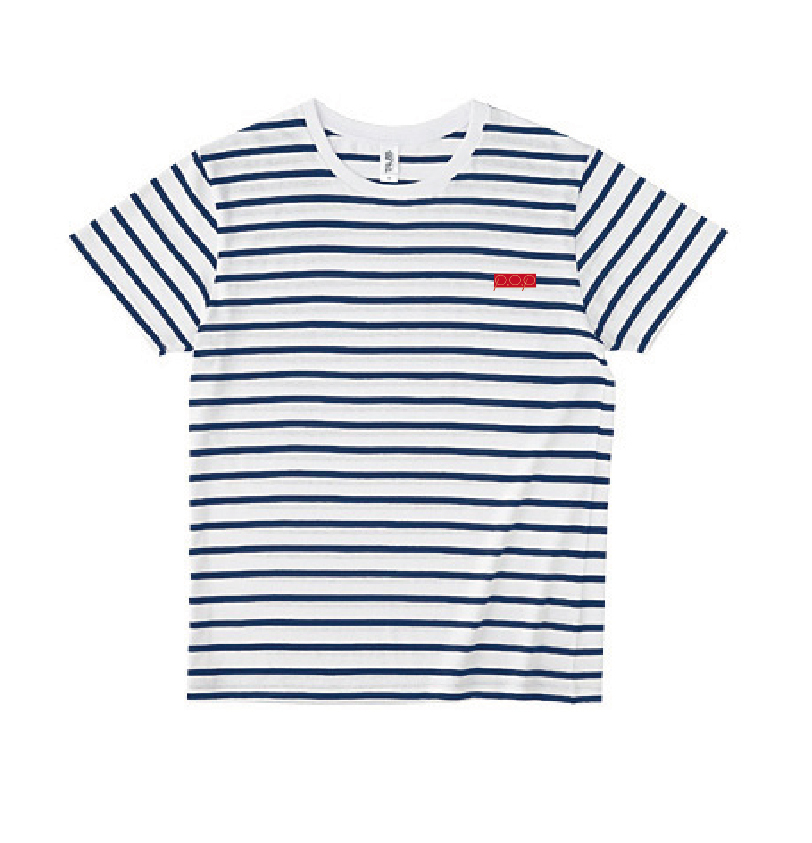P.O.Pボックスロゴ刺繍 黒ボーダーTシャツ(レッド/ホワイト) - 画像1