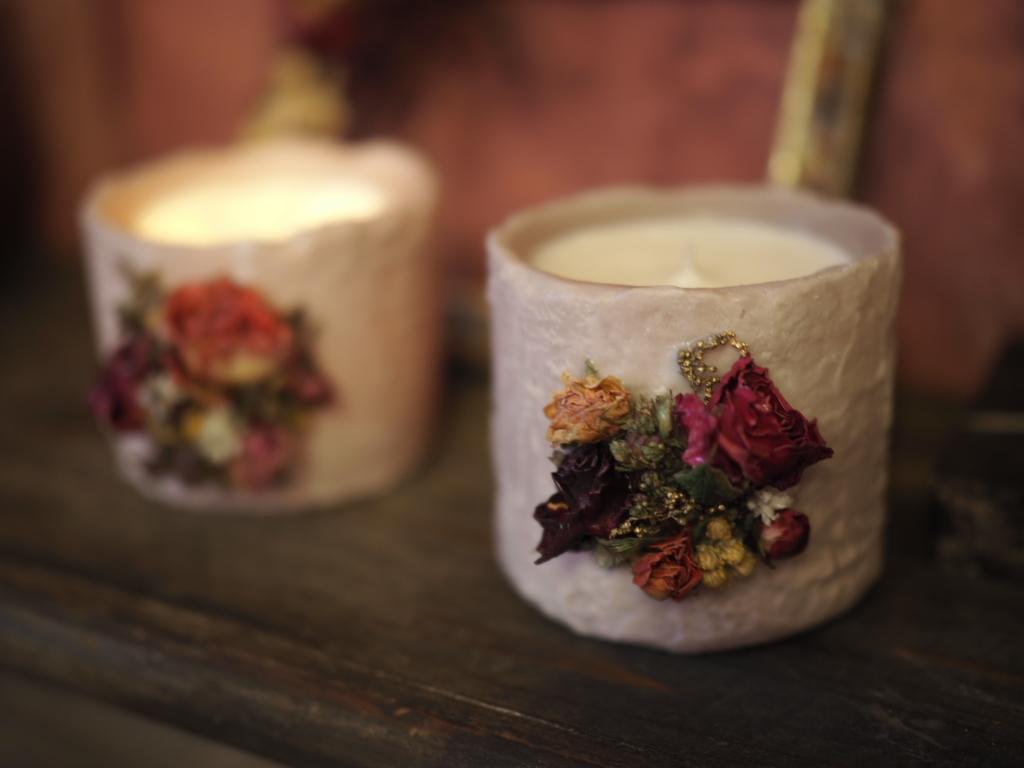 antique botanical candle