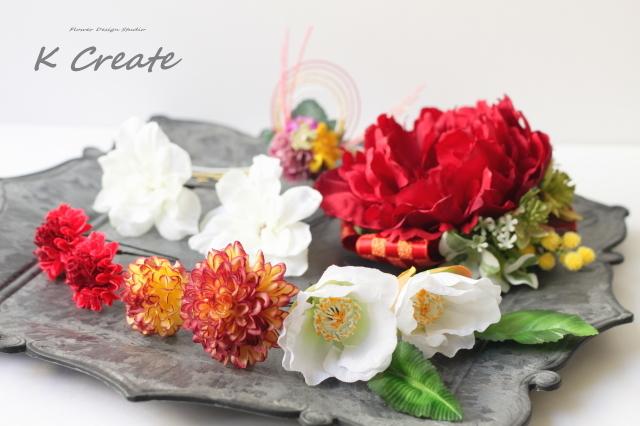 成人式・結婚式・卒業袴に♡赤い芍薬と椿のヘッドドレス(12点セット)
