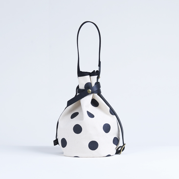 kingyo bag / black × polka dot きんぎょバッグ / 墨 x 水玉