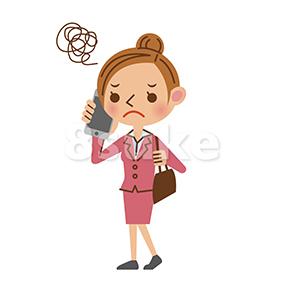 イラスト素材:スマートフォンで通話するビジネスウーマン/困った表情(ベクター・JPG)