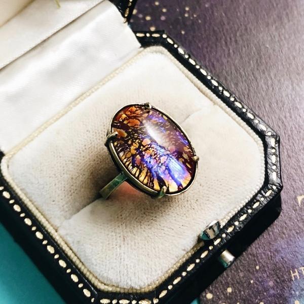 ドラゴンスキン レアヴィンテージ西ドイツ製ガラス リング(指輪)