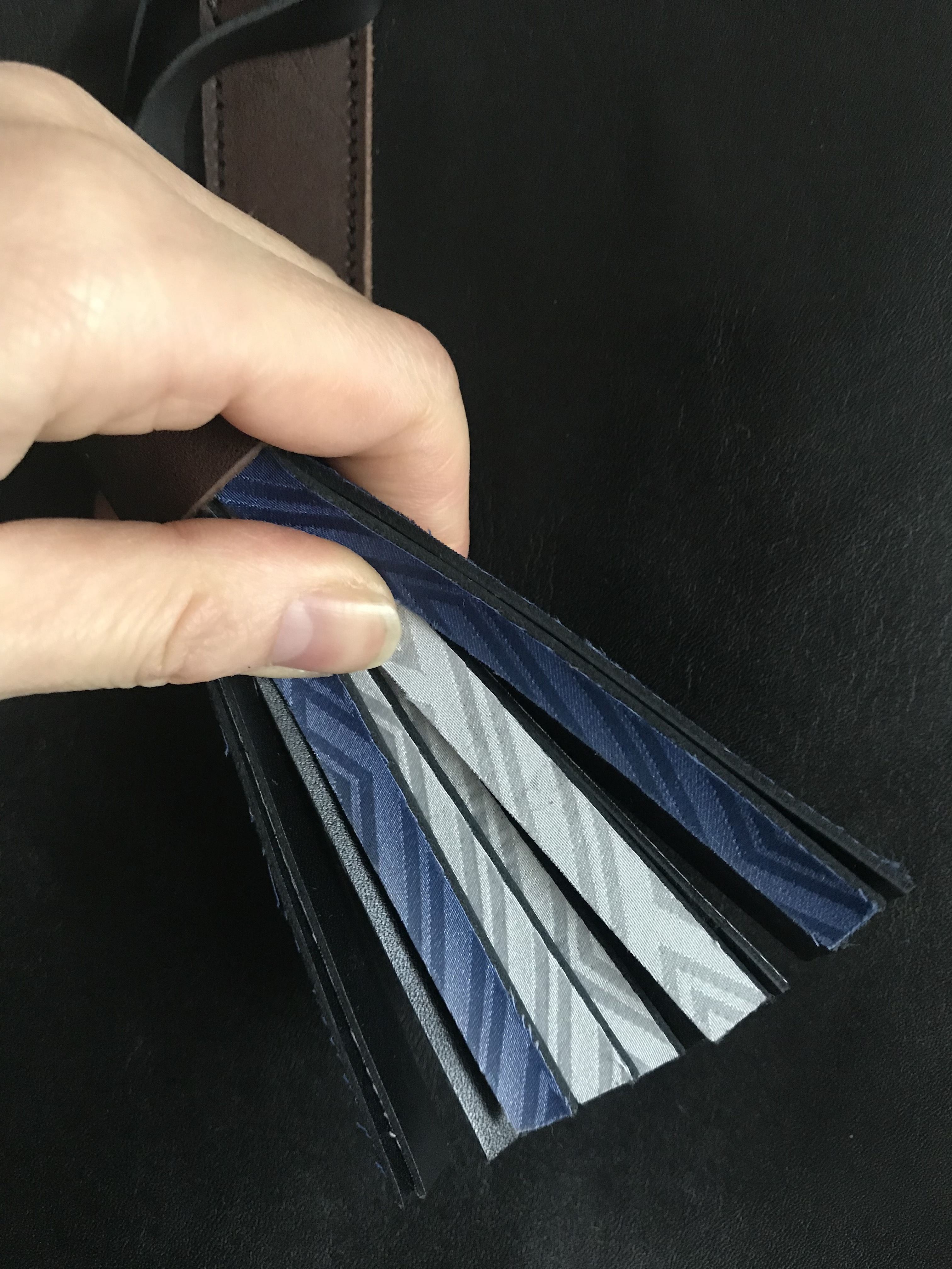 black leather bag / antique kimono(鷹&青)