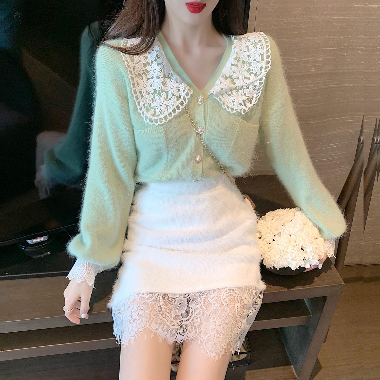 「セットアップ」単品注文レース切り替えセーター単品注文ふわふわスカートスウィートカジュアルセットアップ