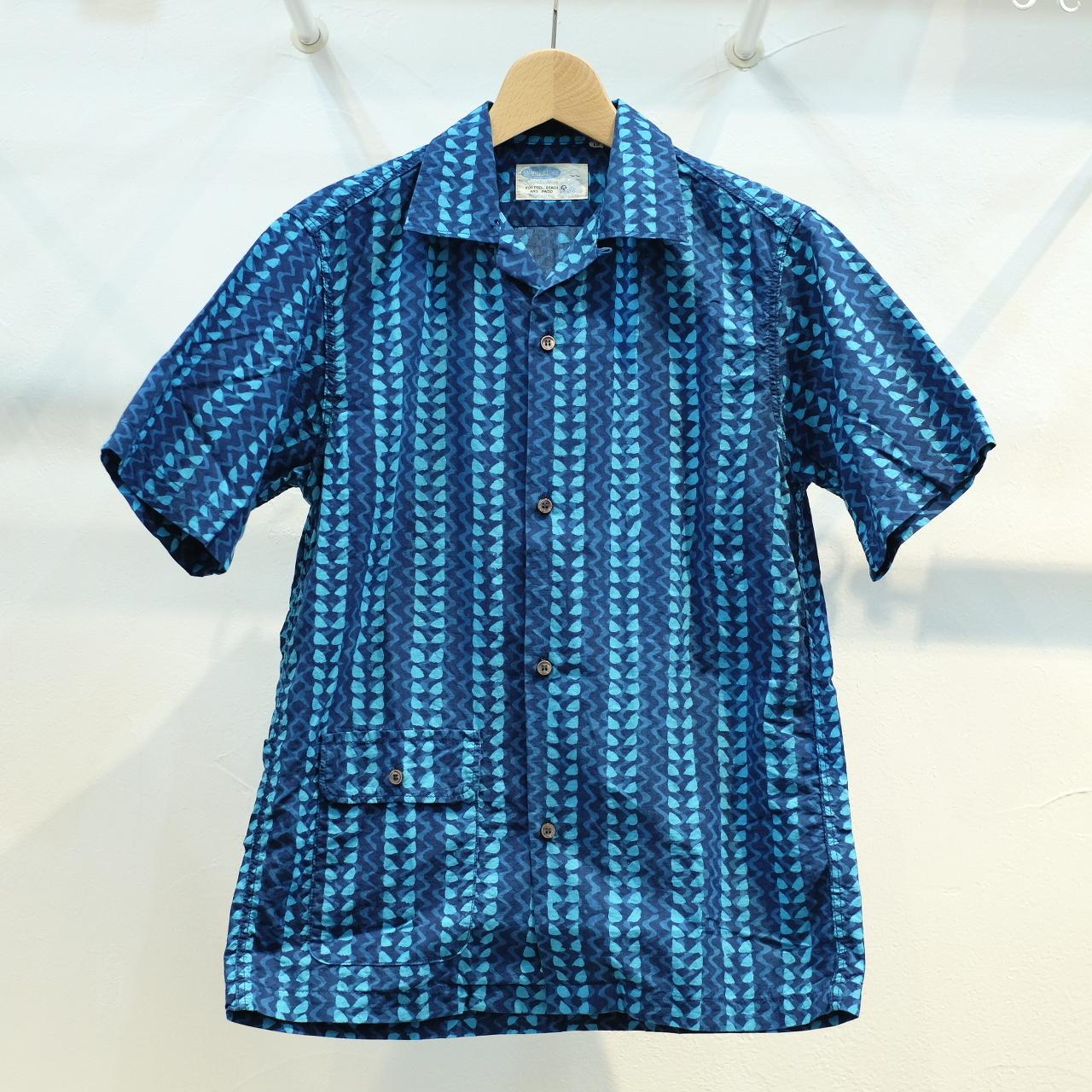 Workers(ワーカーズ) オープンカラーシャツ ブロックプリント ブルー