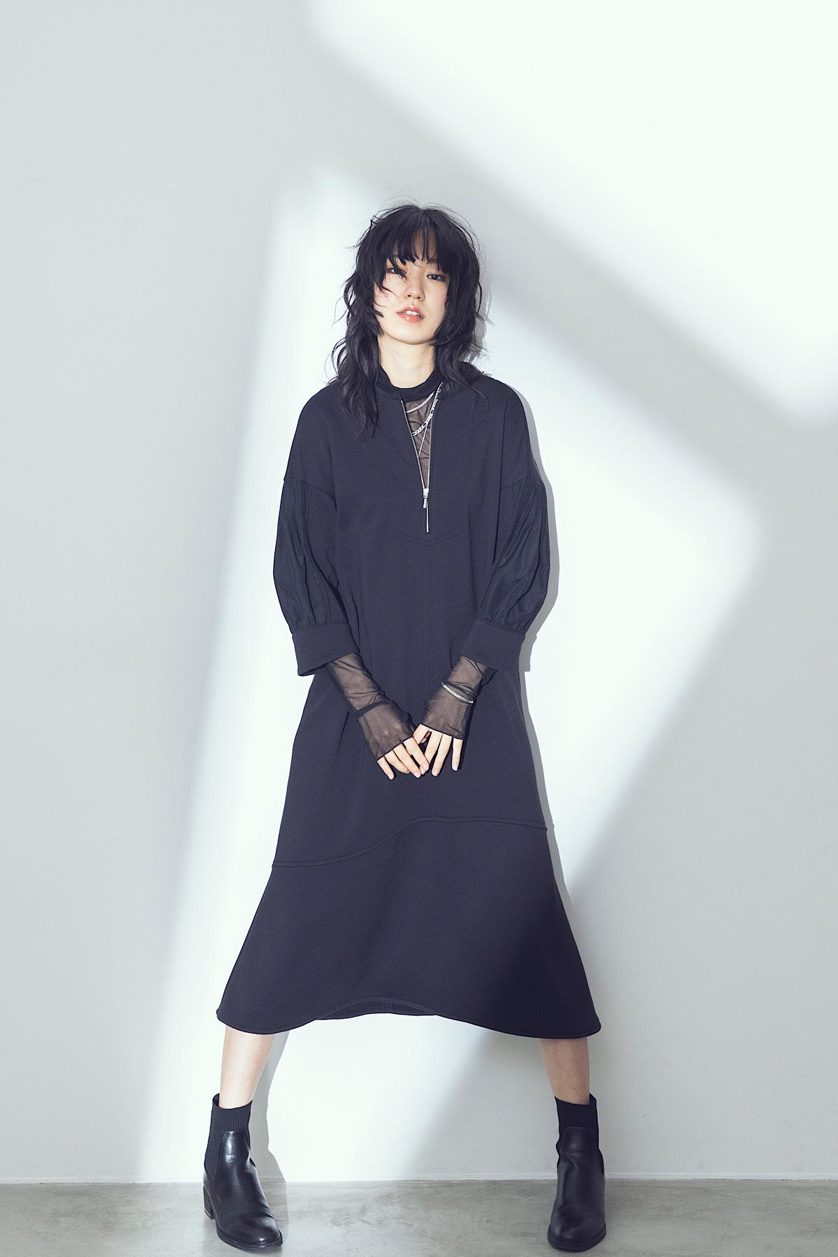 マーメイドジャージードレス <ブラック>