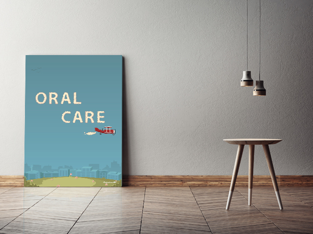 ORAL CARE キャンバスプリント(B2サイズ・木製パネル貼り)