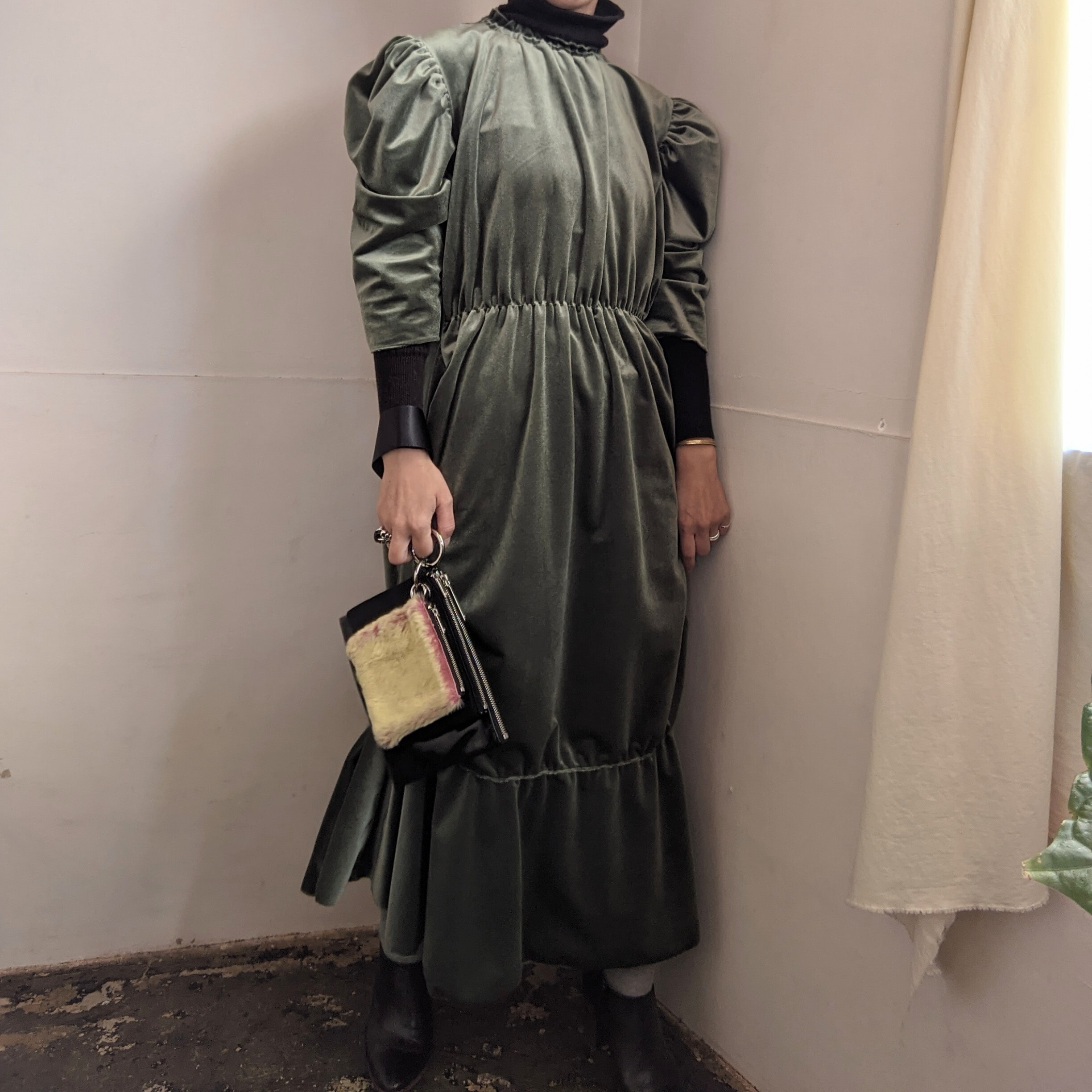 【 HOUGA 】ホウガ 2020AW blossom dress / green / partydress /秋冬