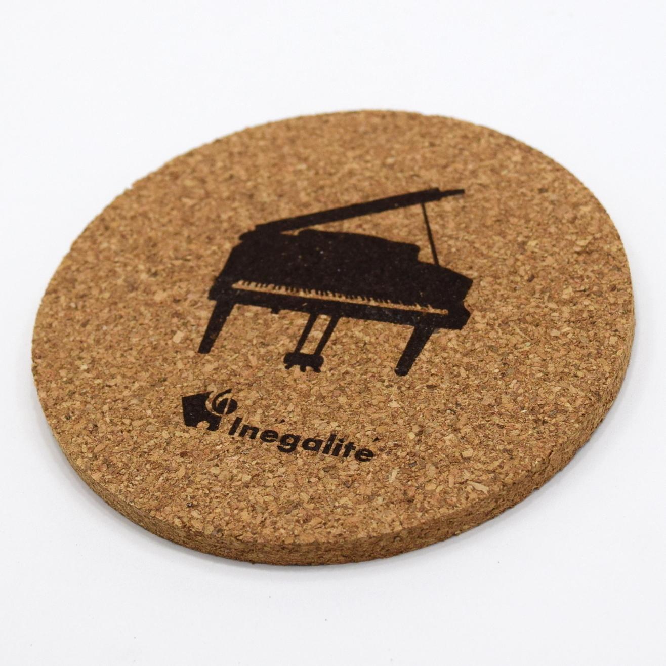 [単品]コルクコースター『ピアノ・ロゴ入り』 ~発表会記念品として♪~