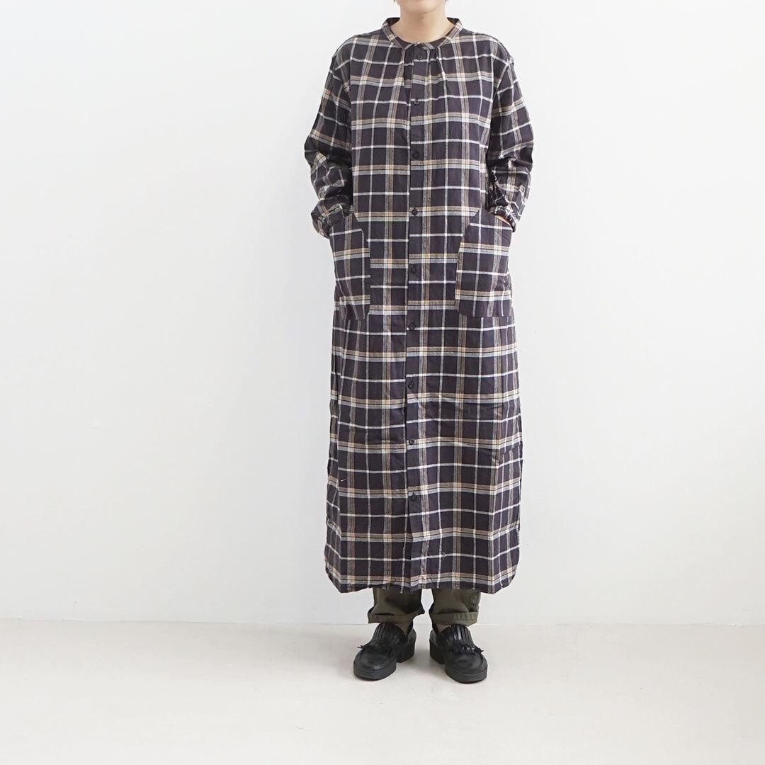 NARU ナル フランネル起毛チェックロングワンピース (品番636806)