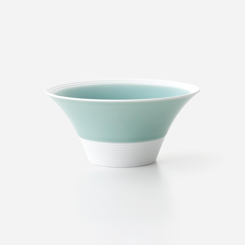 青磁白彩 広口深大鉢
