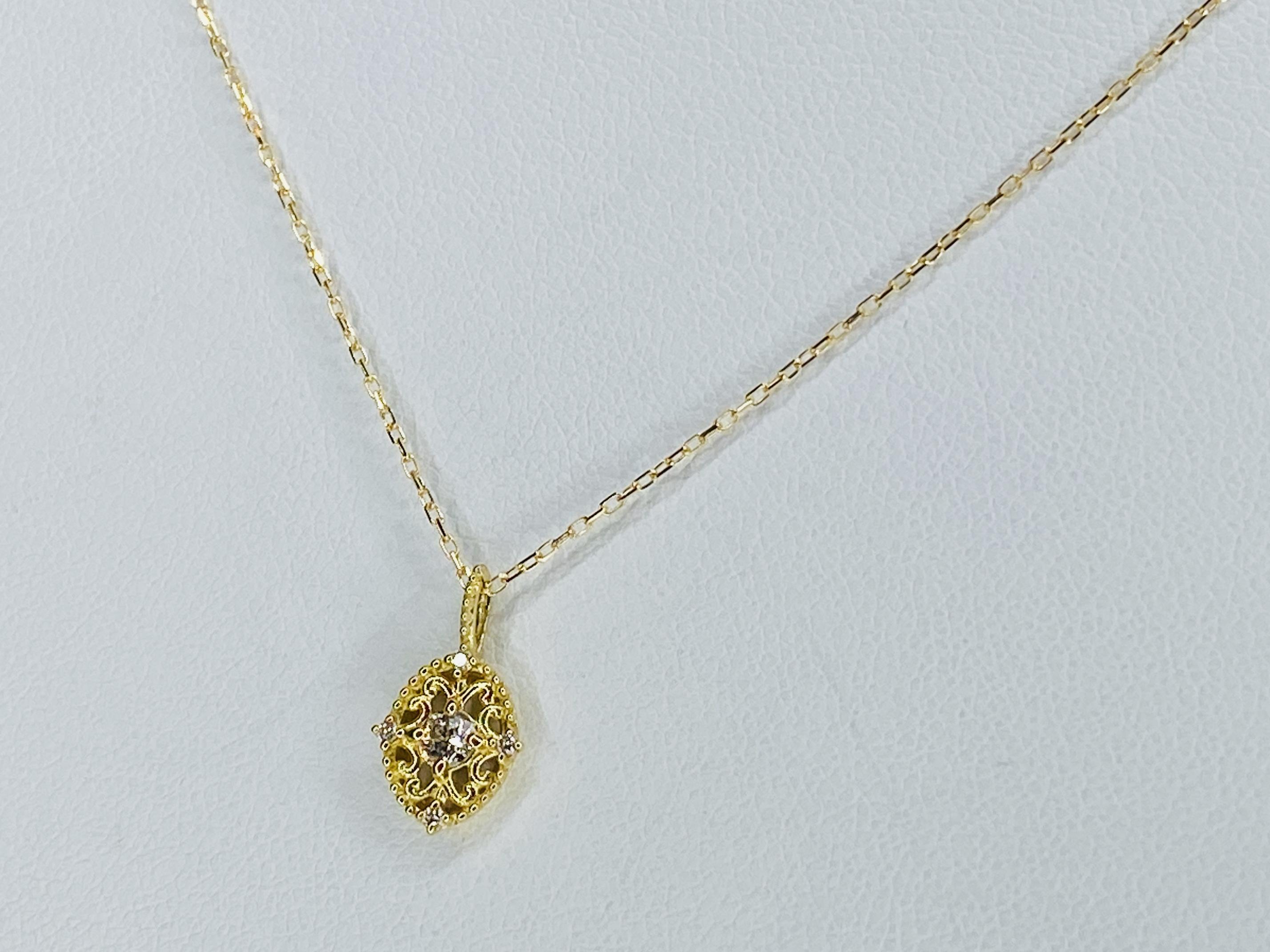 K18 0.12ct ダイヤモンド デザインネックレス ○