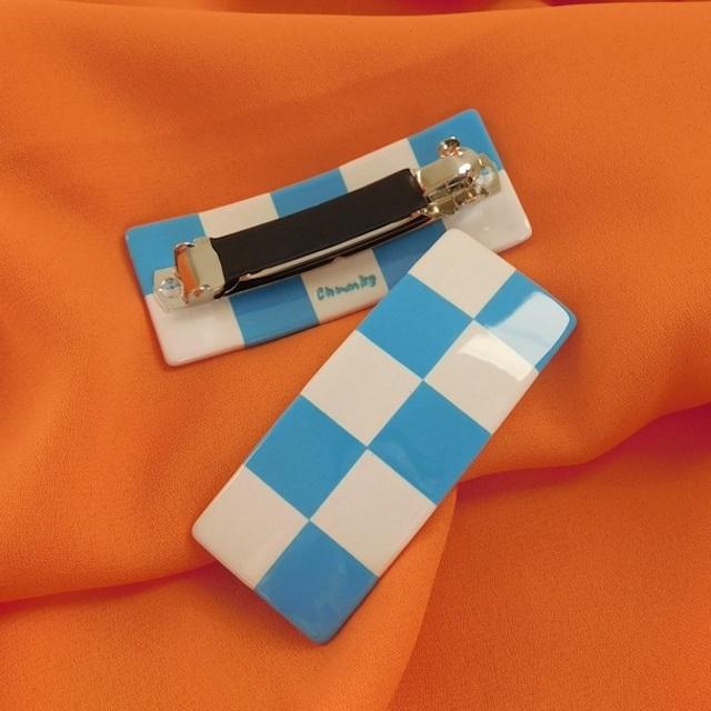 "Chunks ""Checker Barrette in Blue + White"""