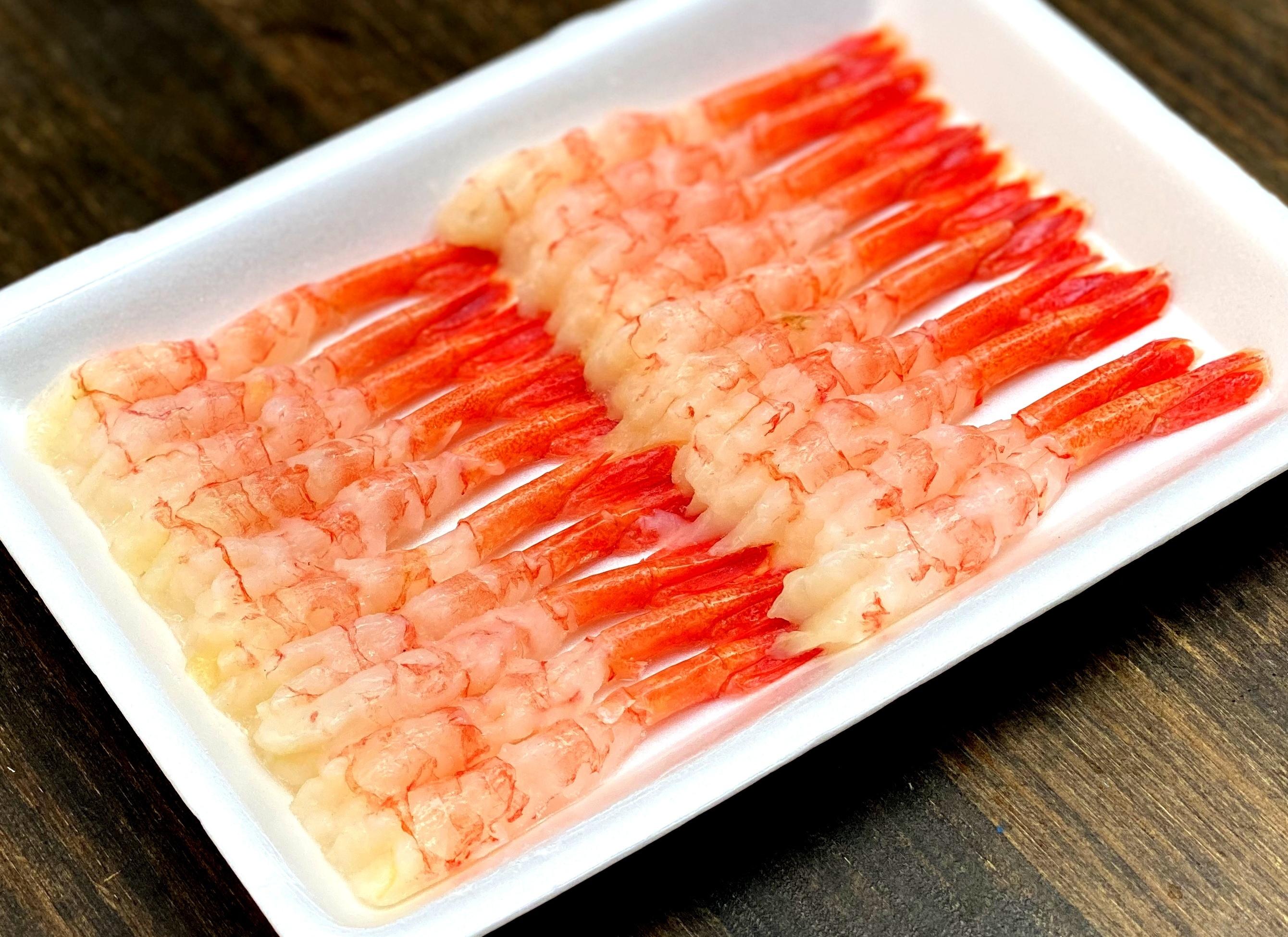 【一般のお客様大歓迎】210 冷凍 尾付きむき甘海老 3LUサイズ(大)20尾入 380円(税込)