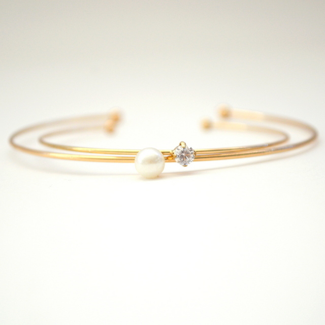 Pearl CZ Bangle set