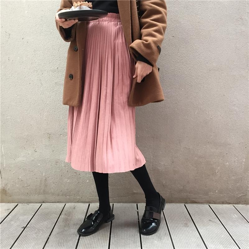 【送料無料】 大人可愛い♡ ハイウエスト ロング プリーツスカート