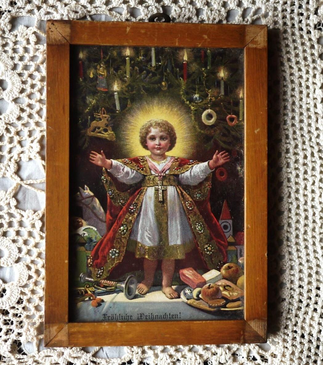 宗教画 御子生誕祝祭 壁掛け額絵 オーナメント 幼子イエス