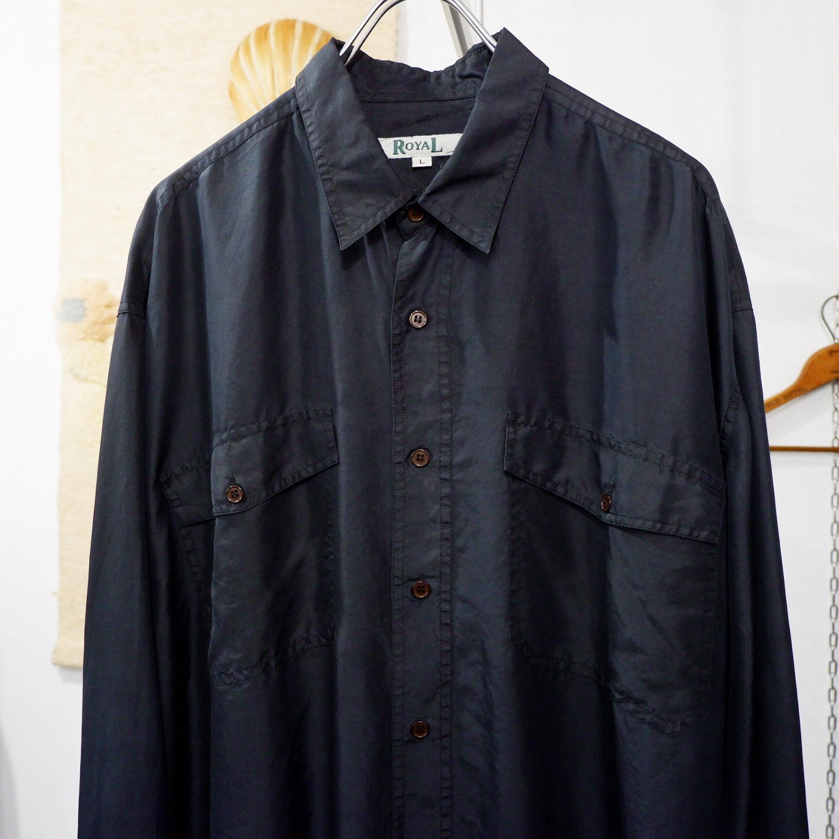 アメリカ古着 ブラック シルクシャツ