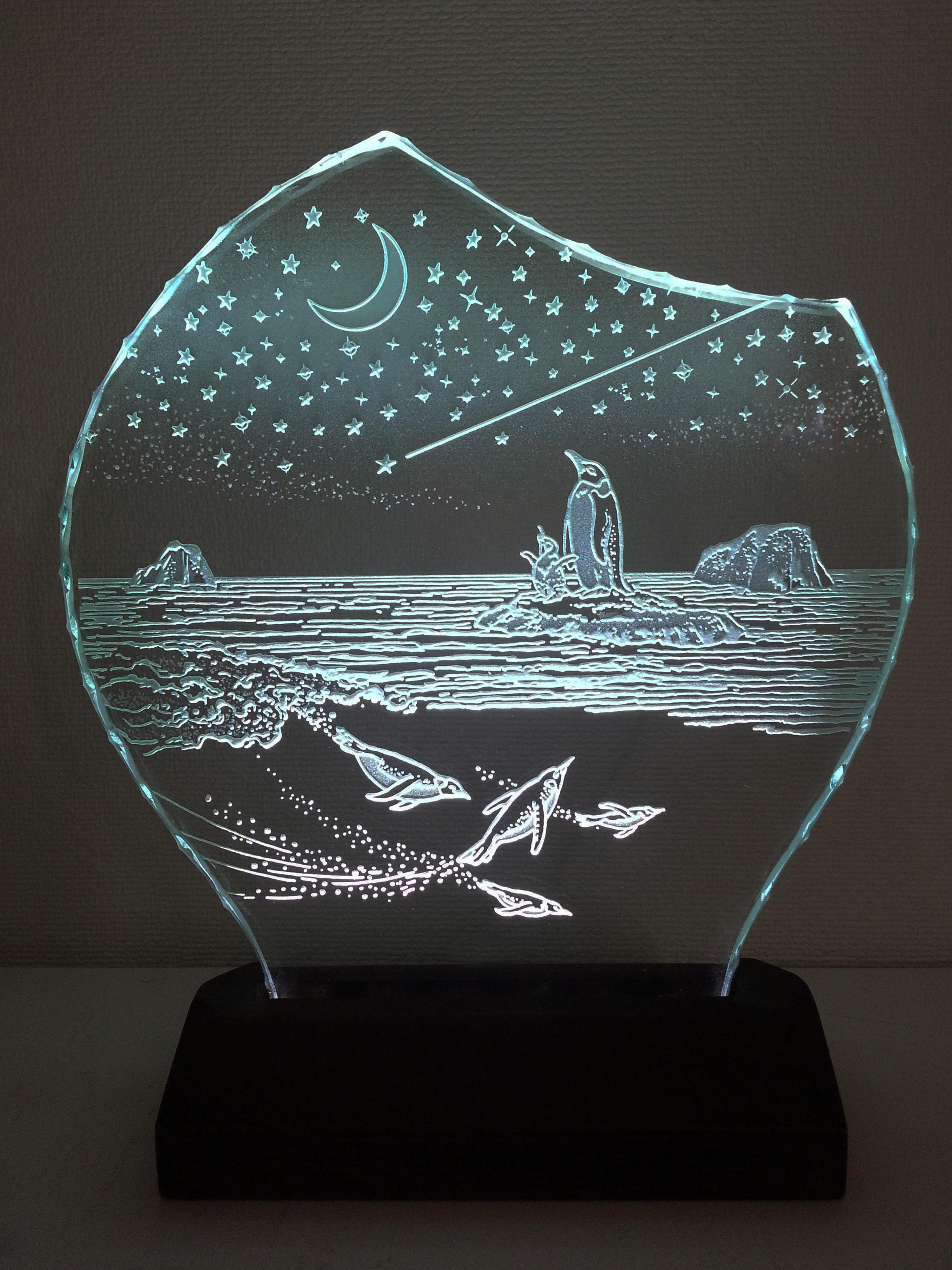 星降る夜・ペンギン ガラスエッチングパネル Mサイズ・LEDスタンドセット