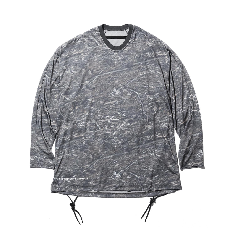 740CUM3-P-KHAKI / プリント ロングスリーブ コード Tシャツ